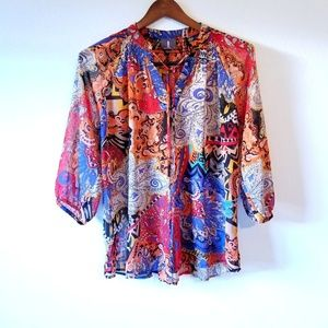 Abstract Print Peasant Blouse
